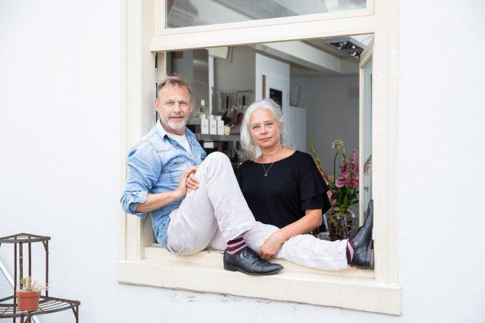 Leonard de Groot (57), Dorian van der Kooij (56) and cat Skimble